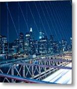 Brooklyn Bridge And Lower Manhattan By Night Metal Print by Miemo Penttinen - miemo.net