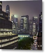 Bryant Park At Night From Roof Looking East Metal Print by Jon Shireman