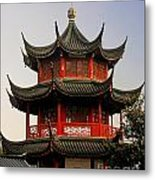 Buddhist Pagoda - Shanghai China Metal Print by Christine Till