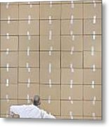 Businessman Seated Facing Cardboard Boxes Wall Metal Print by Sami Sarkis