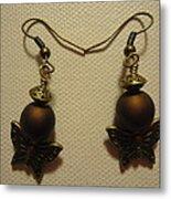 Butterfly Brown Earrings Metal Print by Jenna Green