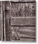 Cabin Door Bw Metal Print by Steve Gadomski