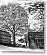Cabin Under Buttermilk Skies Vignette Metal Print by Dan Carmichael