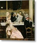 Cafe Scene In Paris Metal Print by Henri Gervex
