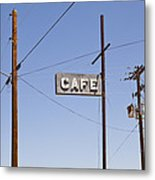 Cafe Sign Power And Telephone Cables Metal Print by Bryan Mullennix