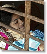 Caged Indian Beauty Metal Print by Kantilal Patel