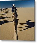 Camel Caravan And Their Shadows Metal Print by Carsten Peter
