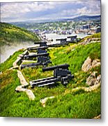 Cannons On Signal Hill Near St. John's Metal Print by Elena Elisseeva