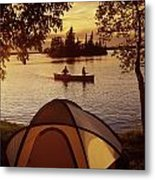 Canoeing At Otter Falls, Whiteshell Metal Print by Dave Reede