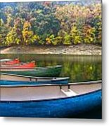 Canoes At Fontana Metal Print by Debra and Dave Vanderlaan