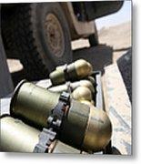 Cans Of Opened 40 Mm Grenades Metal Print by Stocktrek Images