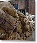 Canvas Bags Holding Foodstuffs Metal Print by Inti St. Clair
