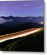 Car Light Trails And Star Trails At Night Metal Print by Samyaoo