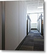 Carpeted Hall With Office Cubicles Metal Print by Jetta Productions, Inc