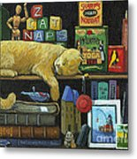 Cat Naps - Old Books Oil Painting Metal Print by Linda Apple