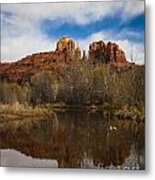 Cathedral Rock Reflections Portrait 2 Metal Print by Darcy Michaelchuk