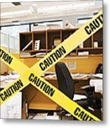 Caution Tape Blocking A Cubicle Entrance Metal Print by Jetta Productions, Inc