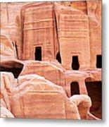 Cave Dwellings Petra. Metal Print by Jane Rix