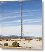 Cellular Phone Tower In Desert Metal Print by Paul Edmondson