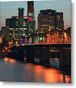 Centennial Birthday Of The Hawthorne Bridge.  Metal Print by Gino Rigucci
