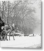 Central Park In Falling Snow Metal Print by Axiom Photographic