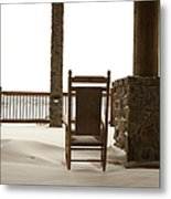 Chair On A Snowy Balcony Metal Print by Will and Deni McIntyre