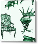Chair Poster In Green  Metal Print by Adendorff Design