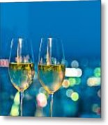 Champagne Glasses In Front Of A Window Metal Print by Ulrich Schade