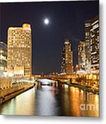 Chicago At Night At Columbus Drive Bridge Metal Print by Paul Velgos