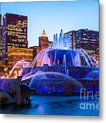 Chicago Skyline Buckingham Fountain High Resolution Metal Print by Paul Velgos