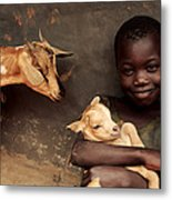Child Holding A Kid Metal Print by Mauro Fermariello
