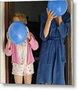 Children Blowing Up Balloons Metal Print by Sami Sarkis