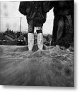 Children Walking In Heavy Rain Storm In The Street Metal Print by Joe Fox