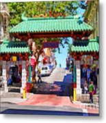 Chinatown Gate In San Francisco . 7d7139 Metal Print by Wingsdomain Art and Photography
