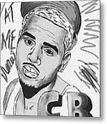 Chris Brown Cb Drawing Metal Print by Kenal Louis
