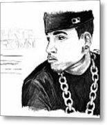 Chris Brown Drawing Metal Print by Pierre Louis