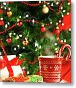 Christmas Cookies  Near The  Tree  Metal Print by Sandra Cunningham