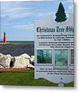 Christmas Tree Ship Point At Algoma Harbor Metal Print by Mark J Seefeldt