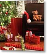 Christmas Tree With Gifts Metal Print by Sandra Cunningham