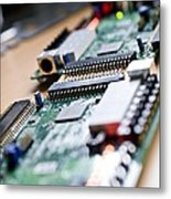 Circuit Board Components Metal Print by Arno Massee
