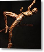 Citius Altius Fortius Olympic Art High Jumper On Black Metal Print by Adam Long