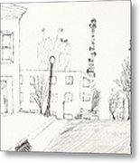 City Street - Sketch Metal Print by Robert Meszaros