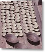 Clay Yogurt Cups Drying In The Sun Metal Print by David Sherman