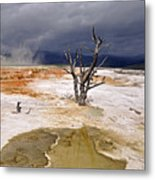 Clearing Storm At Mammoth Hot Springs Metal Print by Photo by Mark Willocks