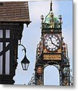 Clock In Chester Metal Print by Andrew  Michael