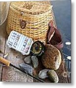 Close-up Of Fishing Equipment And Hat  Metal Print by Sandra Cunningham