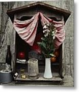 Close View Of A Shrine With Oferings Metal Print by Sam Abell