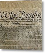 Close View Of The Us Constitution Metal Print by Kenneth Garrett