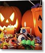 Closeup Of Candies With Pumpkins  Metal Print by Sandra Cunningham