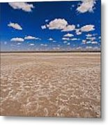 Clouds Float In A Blue Sky Above A Dry Metal Print by Jason Edwards
